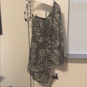 Self Esteem Cheetah Print One Shoulder Dress